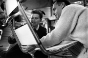 Ray and Charles Eames designing a chair from aluminum in 1957.