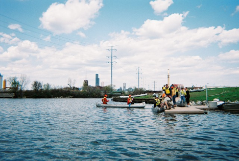 Roosevelt University students and faculty enter Bubbly Creek, 2009.  Photograph by Laura Bryson.