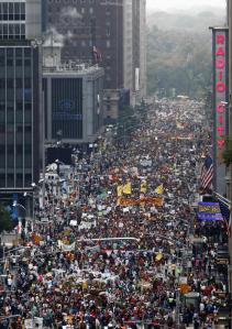 Hundreds of thousands of people fill Manhattan for the People's Climate March.